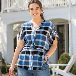 Cato Tops - Cato Blue Plaid Rayon Blouse Size XL